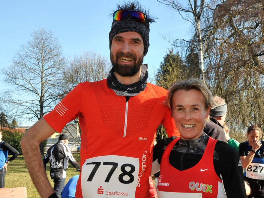Martina Schumacher und Martin Schedler heißen die Sieger beim 12. Ferraro Gutsweiherlauf (Foto: schneider consulting)